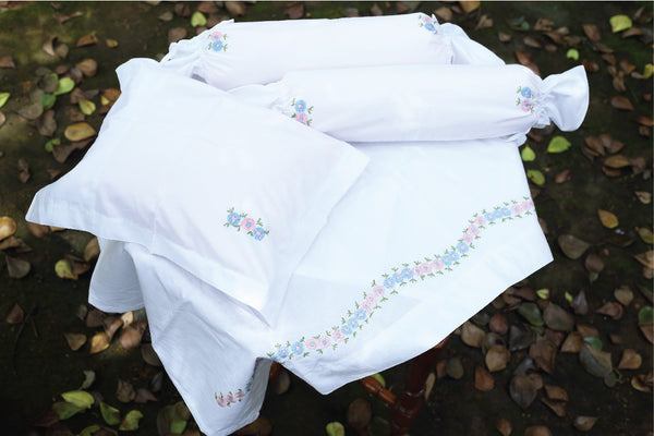 Hand Embroidered Dual Color Flower Cot Set