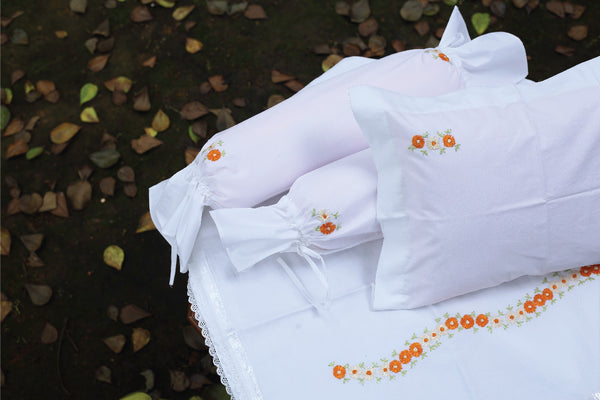 Orange Coloured Flower Cot Set