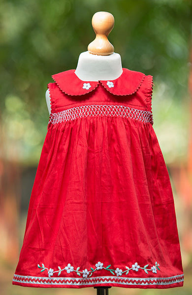 Sleeveless Peter Pan Collar Smocked Dress