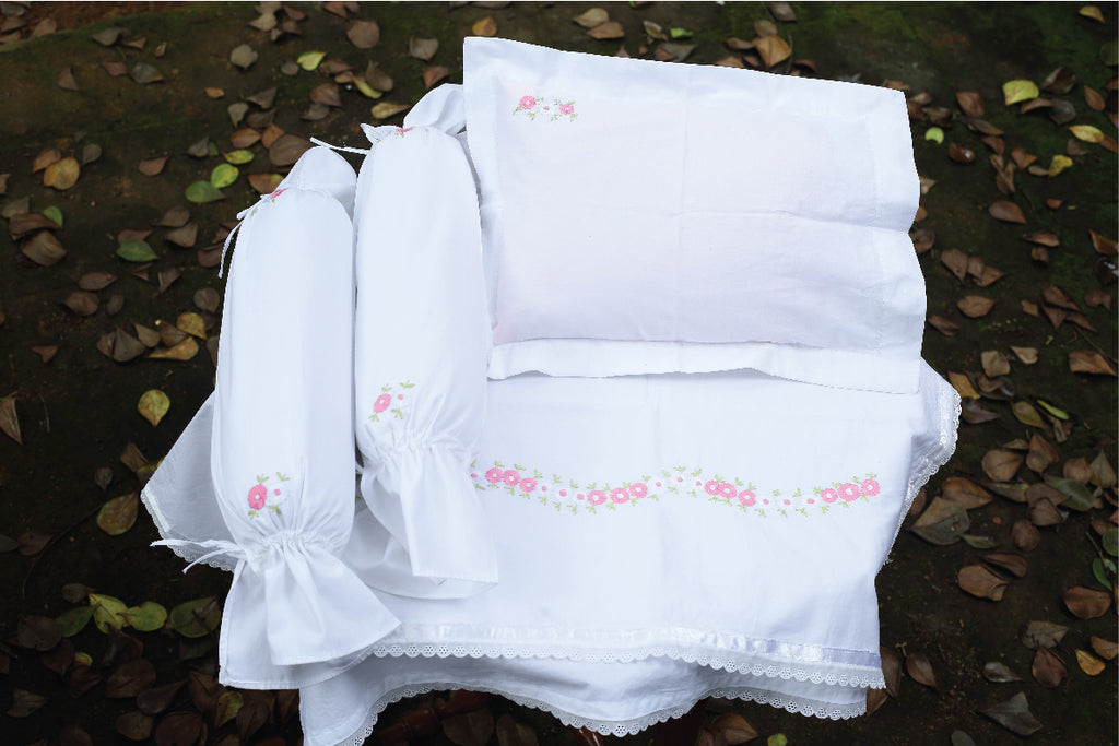 Hand Embroidered Floral Cot Set