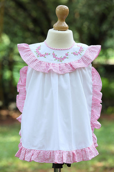 Gingham Frilled Flowered Pattern Dress