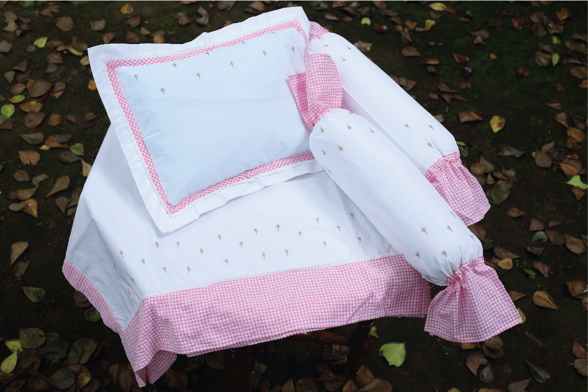 Pink Checks with Pink Bud Cot Set