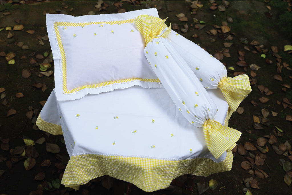 Yellow Checks with Stars Cot Set