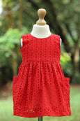 Red Sleeveles Cotton Eyelet  Fabric Frock