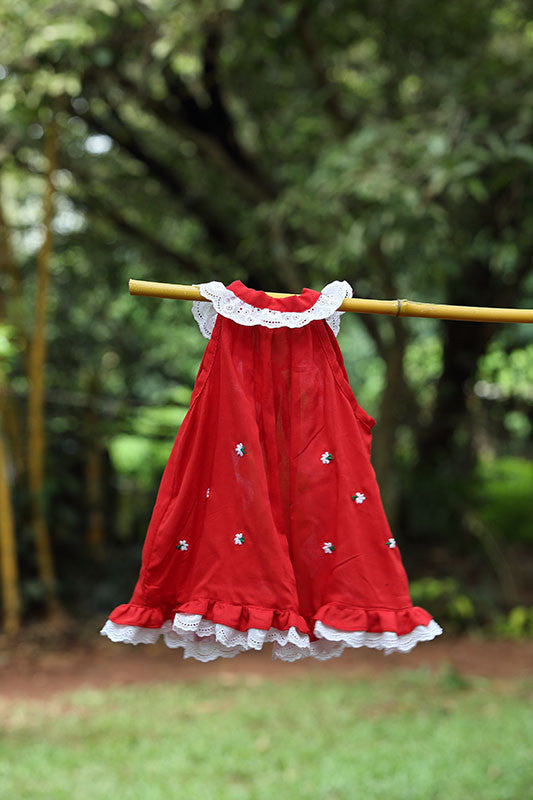 Sleeveless Red Frock With Lace Trim