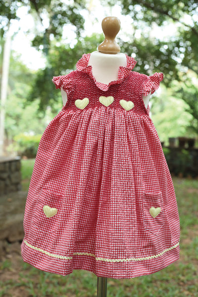 Red Gingham Dress with Heart Applique