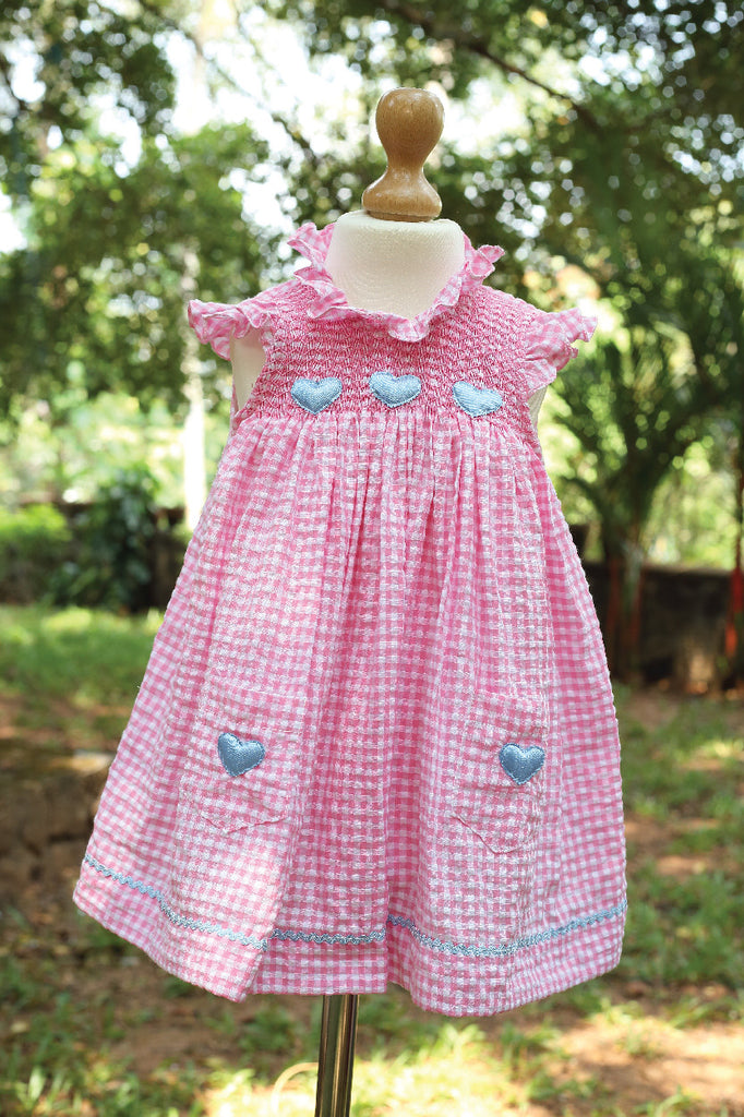 Pink Gingham Dress with Heart Applique