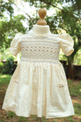 Cotton Dress with Bullion Roses & Sash