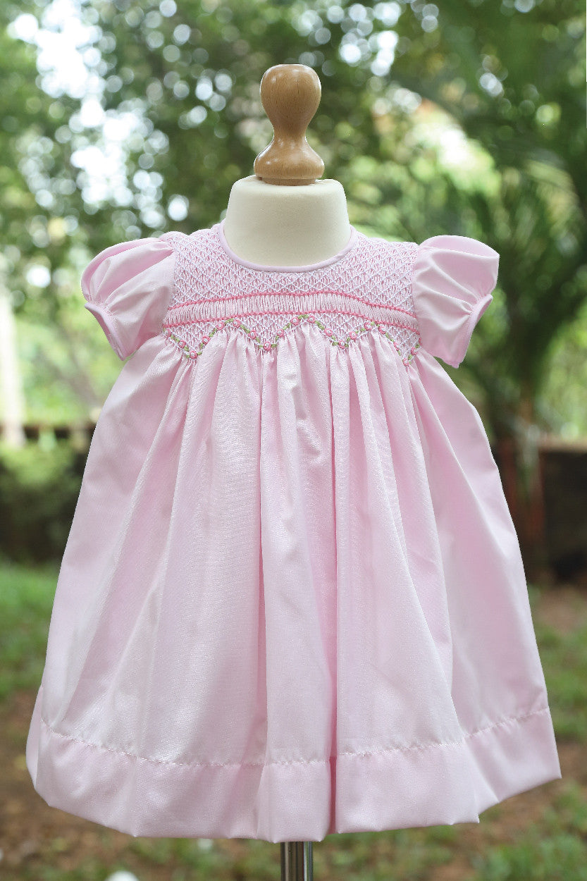 Pink Blended Fabric Dress With Puffed Sleeves