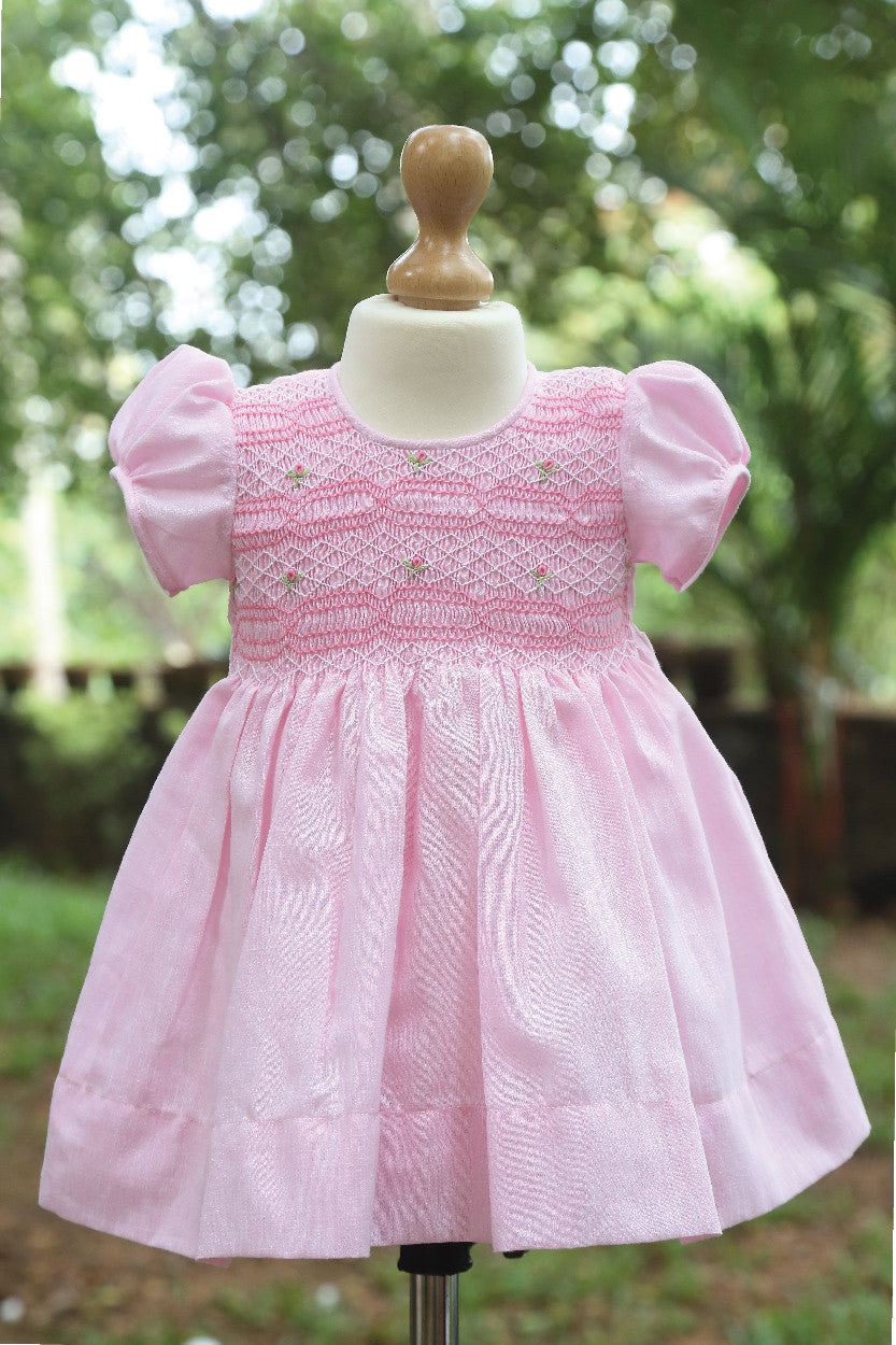 Blended Fabric Dress With Pink Smocked Embroiderey