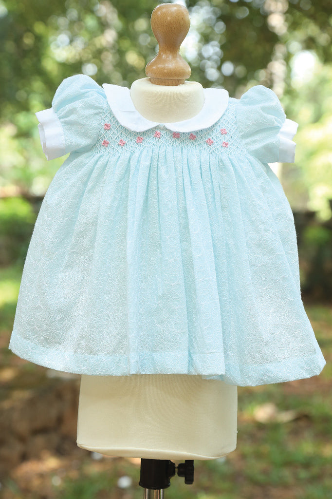 Puffed Sleeve Hakoba Fabric With Peter Pan Collar