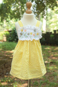Flowery Yoke Gingham Dress