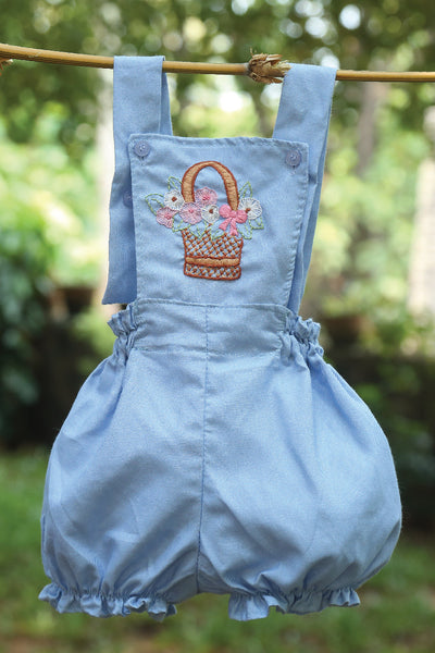 Basket Of Flower Denim Romper