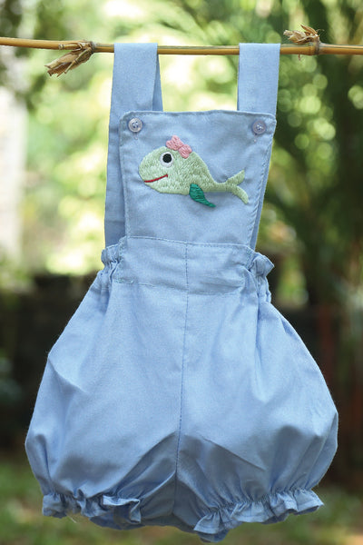 Embroidered Fish Light Denim Romper