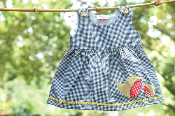 Blue Gingham Frock with Applique Birds