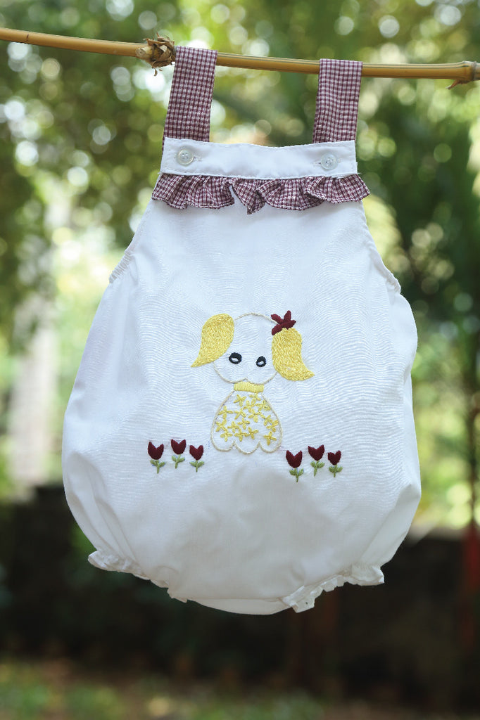 Hand Embroidered Dog Bubble Romper