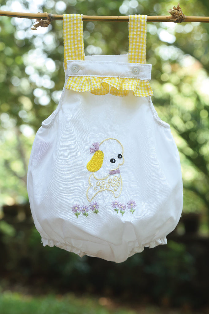 Bubble Romper with Hand Embroidered Pupppy