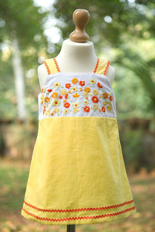 Sleeveless Corduroy Yellow Frock with Flowers