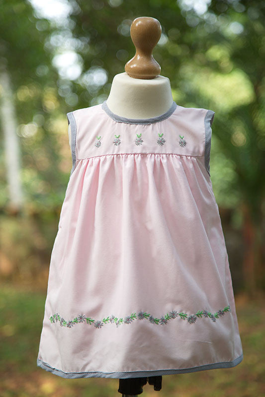 Pink Frock With Embroidered Yoke