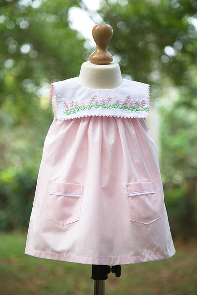 Baby Pink Sleeveless Frock with Embroidered Pockets