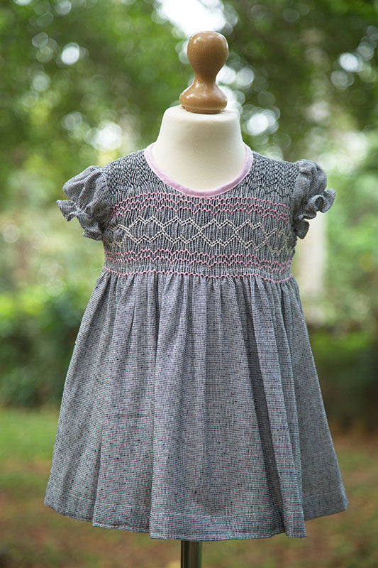 Short Sleeved Frock with Smocked Yoke