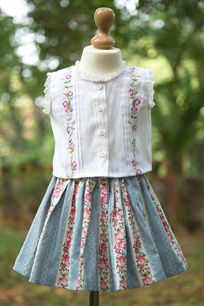Cotton Linen Blouse with Skirt