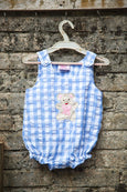 Ghingham Romper with Appliqued Teddy Bear