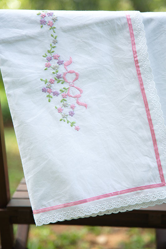 Embroidered Violet and Pink Buds Large Sheet