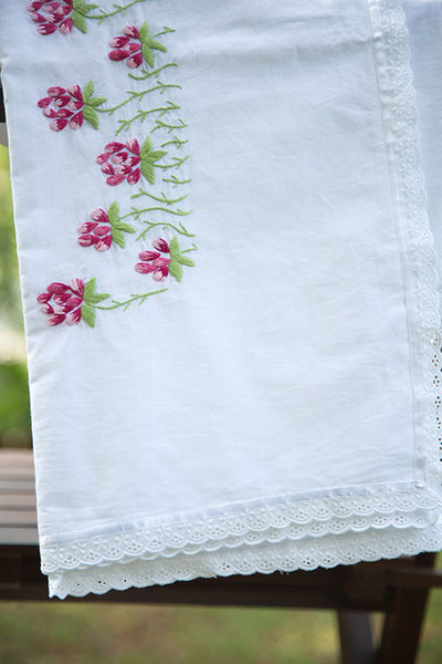 White Sheet with Pink Embroidered Flowers