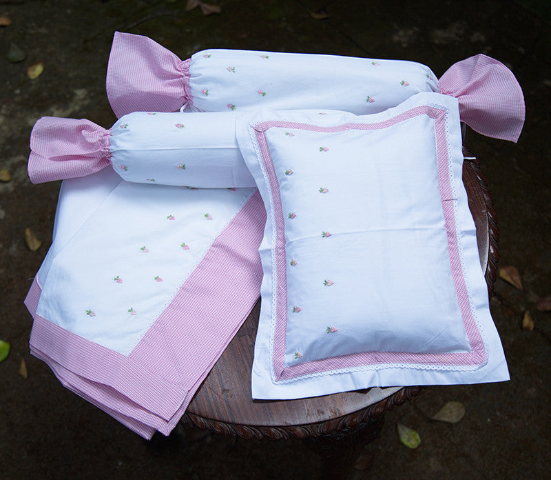 Embroidered Pink Strawberry Cot Set