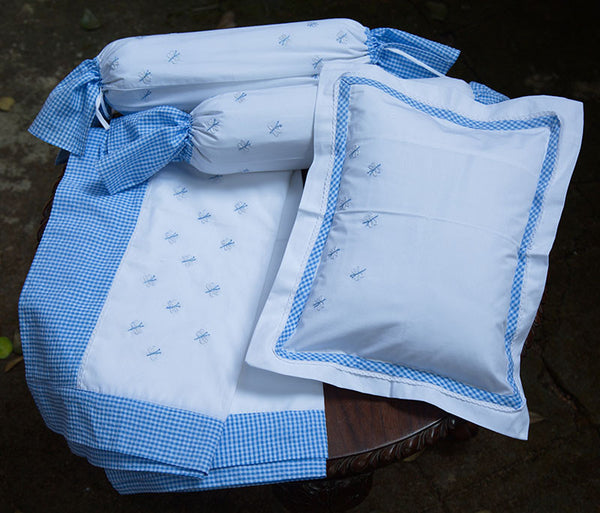 Embroidered Dragonfly & Checks Border Cot Set