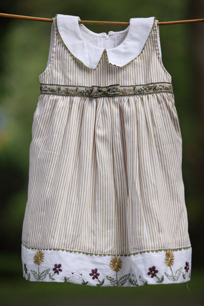 Brown Stripes Drop Collar Dress