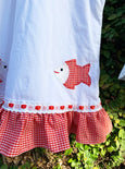 Jolly Fish Duo Embroidered Gingham Dress