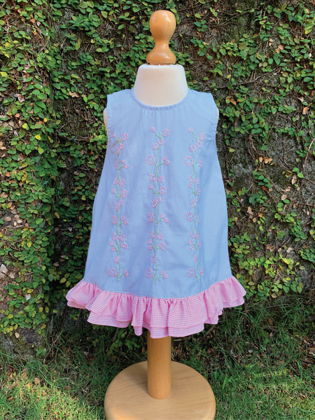 hand embroidered demin blue dress