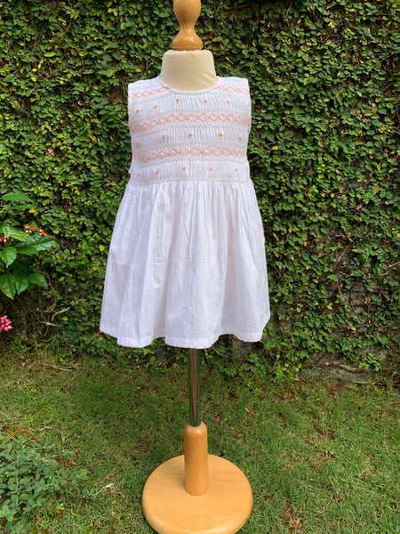 white smocking cotton dress