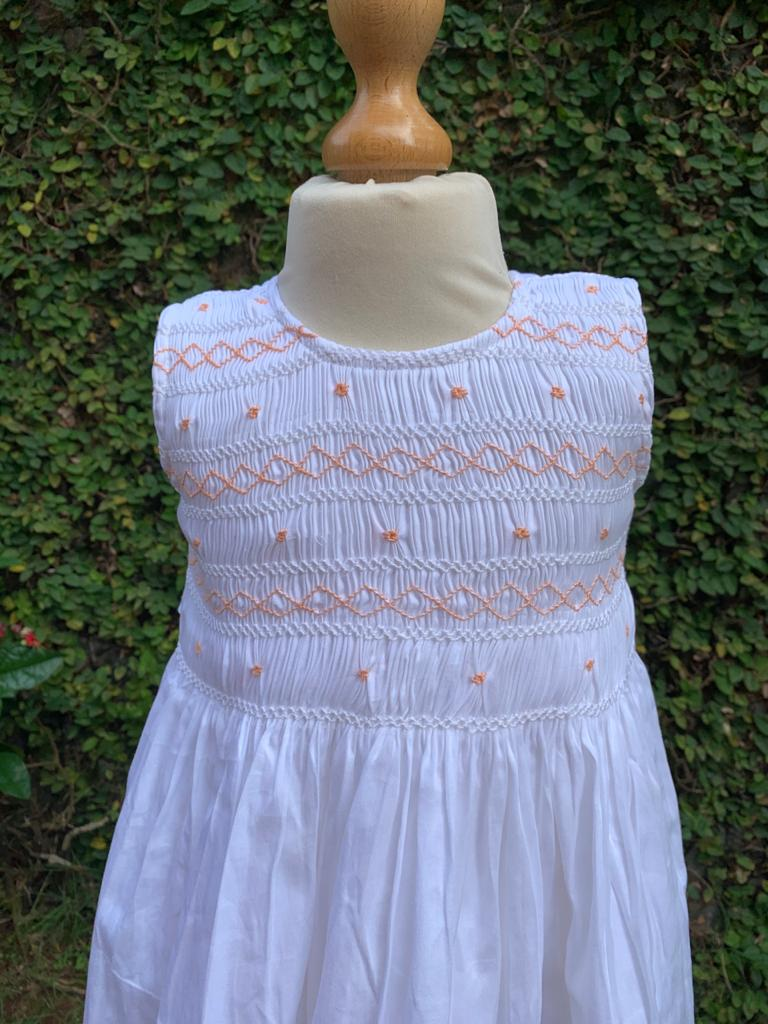 Hopscotch - White Smocking Dress in Pure Cotton