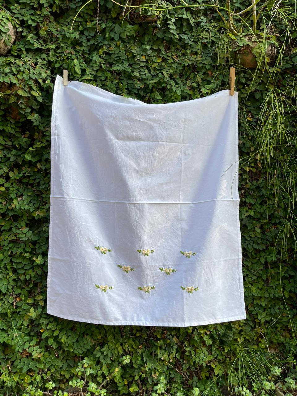 hand embroidered cotton sheet