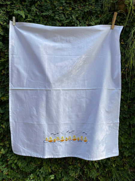 embroidered yacht cotton sheet