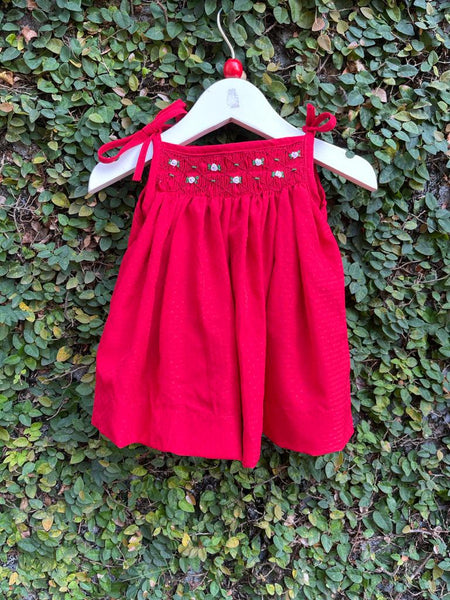 smocked shoulder tie dress