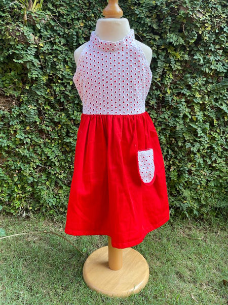 red and white eyelet dress