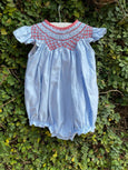 BLUE N RED SMOCKED YOKE ROMPER