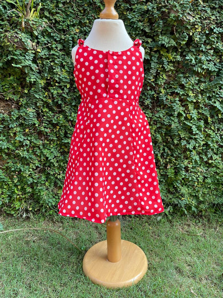 elegant polka dotted red dress