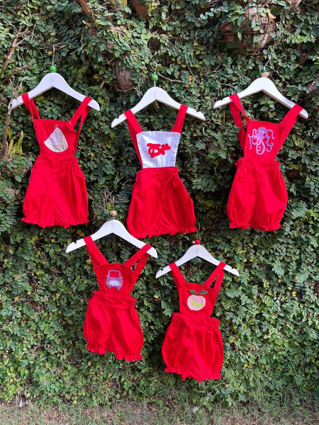 hand embroidered cotton red romper