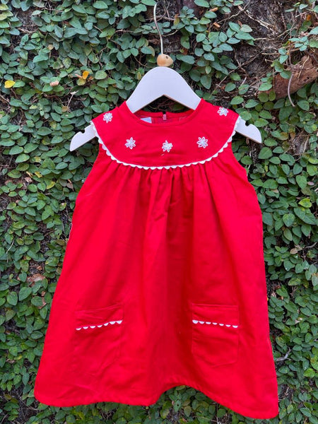 ELEGANT RED DRESS WITH MOTIFS
