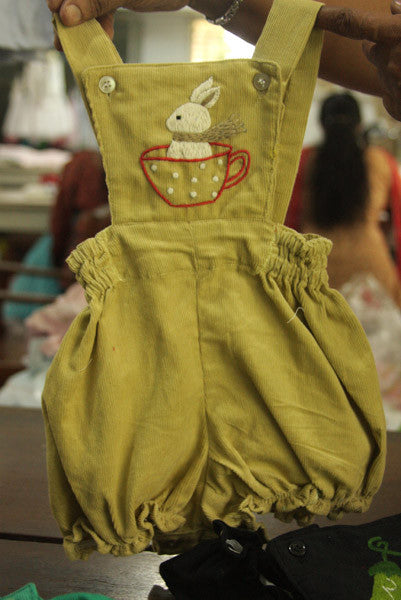 Funny Bunny Corduroy Rompers