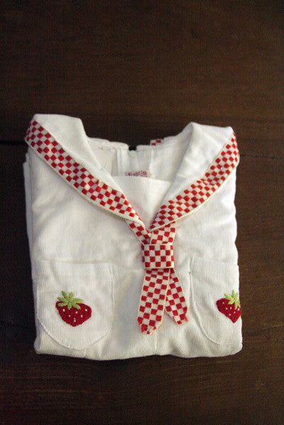 Classic Strawberry Corduroy Rompers