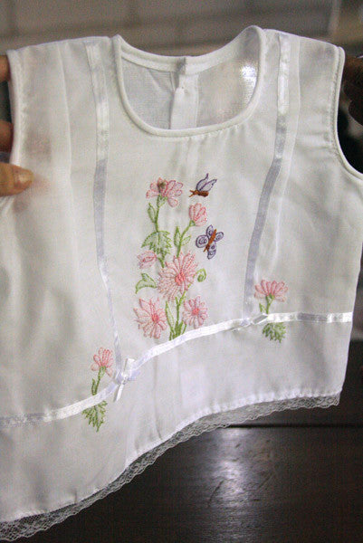 Flowers n' Flutterbys White Darted Top