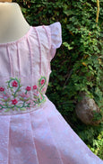 Row of Flowers - Pink Pintuck Dress