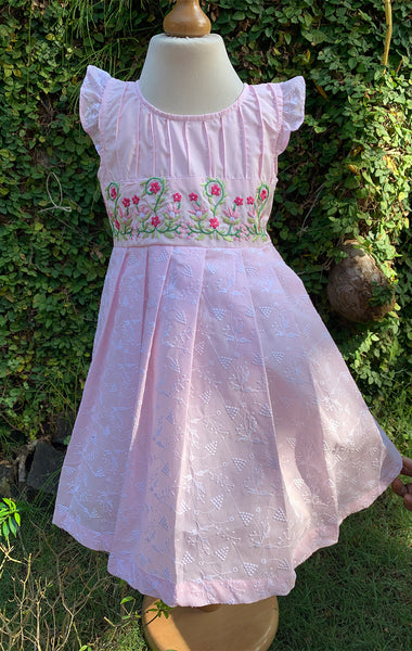 pin tuck pink dress