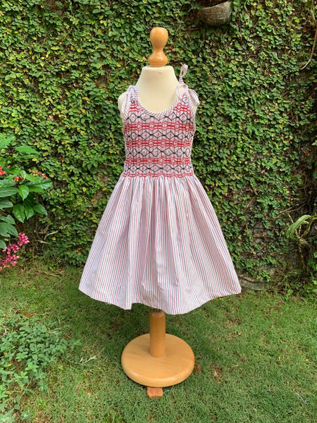 sleeveless smocking dress